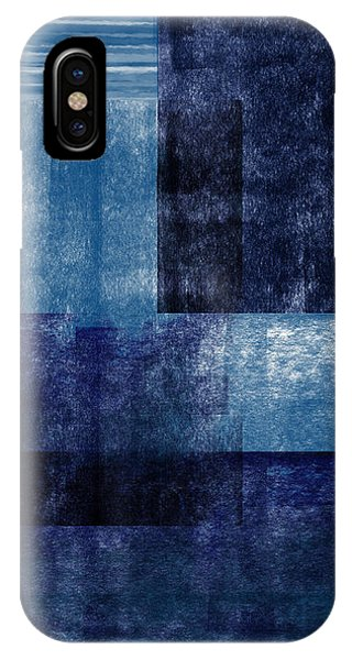 Blue And White iPhone Case - Azul Blocks 1- Art By Linda Woods by Linda Woods