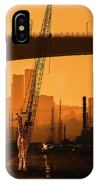 IPhone Case featuring the photograph Baby Giraffe In The Urban Jungle. by Rob D Imagery