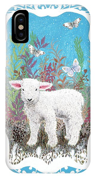 Baby Lamb With White Butterflies IPhone Case