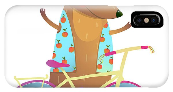 Vector Graphics iPhone Case - Baby Teddy Bear Character With Bicycle by Popmarleo