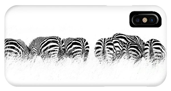 iPhone Case - Back View Of Zebras In A Row  Horizontal Banner by Jane Rix