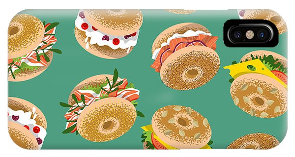 Kitchen iPhone Case - Bagels With Various Topping. Seamless by Ngvozdeva