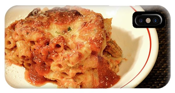 IPhone Case featuring the photograph Baked Ziti Serving 3 by Angie Tirado