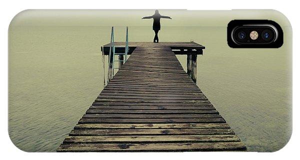 Ballerina Pose At Idyllic Lake At Winter IPhone Case