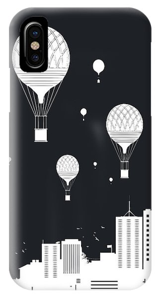 Winter iPhone Case - Balloons And The City by Balazs Solti