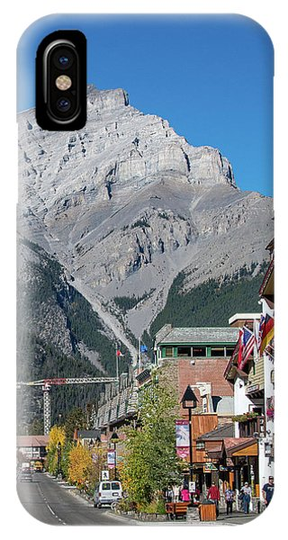 Banff Town Center And Cascade Mountain  IPhone Case