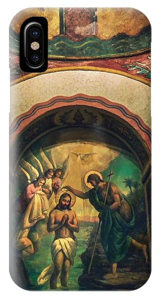 San Gabriel Mission iPhone Case - Baptism Of Christ By Richard Cuevas  by Cuevas Photography Los Angeles