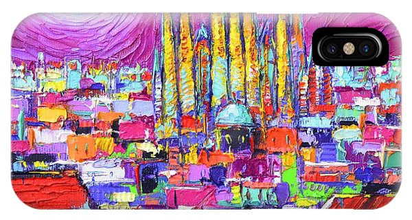 Barcelona Mystic Full Moon Over Sagrada Familia Abstract Cityscape Knife Painting Ana Maria Edulescu IPhone Case