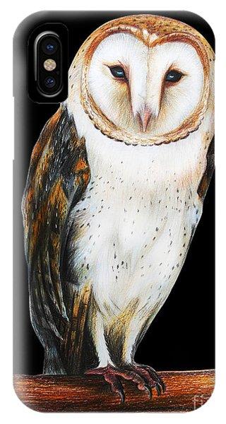 Mottled iPhone Case - Barn Owl Drawing On Black Background by Viktoriya art
