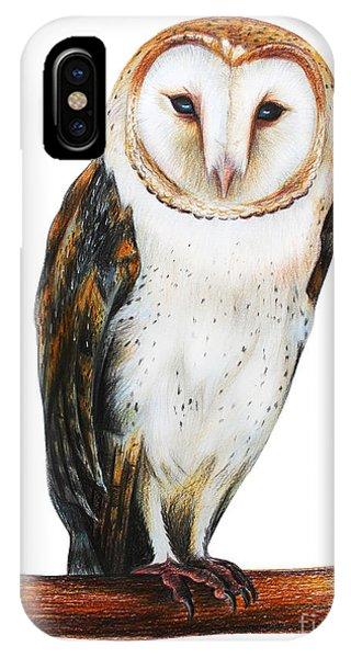 Mottled iPhone Case - Barn Owl Drawing Tyto Alba by Viktoriya art