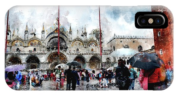 Basilica Of Saint Mark In Venice With Watercolor Look IPhone Case