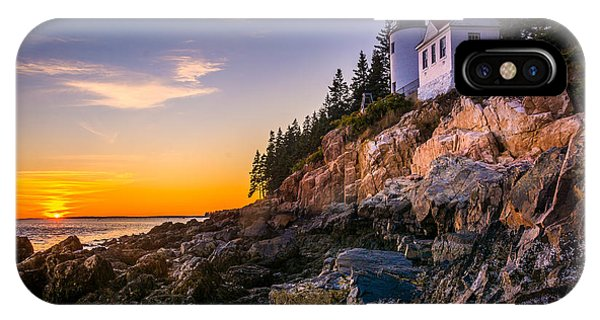 Orange Color iPhone Case - Bass Harbor Lighthouse At Sunset, In by Jon Bilous