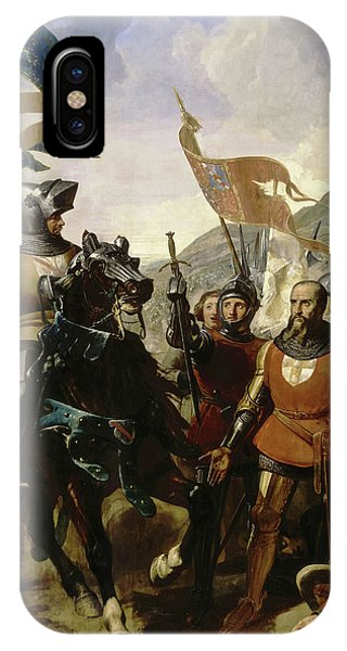 King Charles iPhone Case - Battle Of Cocherel by Charles-Philippe Lariviere