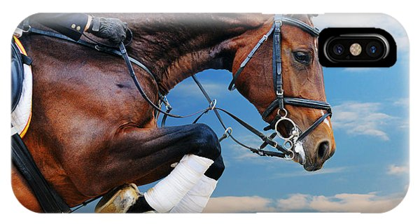 Achievement iPhone Case - Bay Horse In Jumping Show Against Blue by Pirita