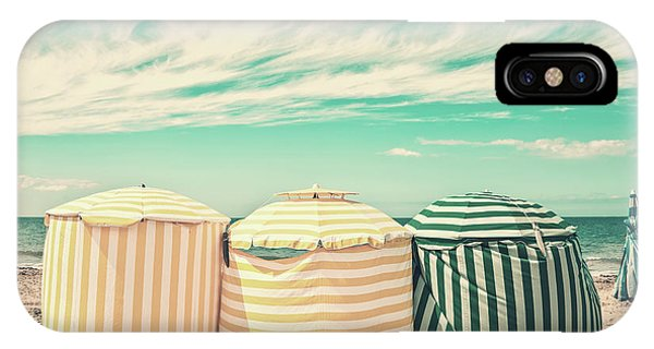 Normandy iPhone Case - Beach Umbrellas by Delphimages Photo Creations