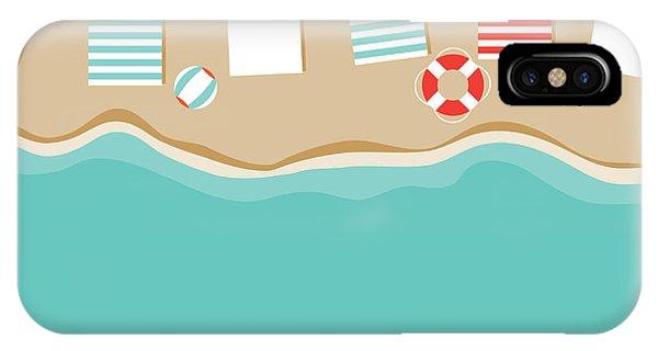 Seashore iPhone Case - Beach Umbrellas Flat Design Background by Michele Paccione