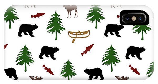 Cabin iPhone Case - Bear Moose Pattern by Christina Rollo