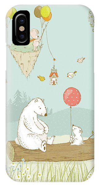 IPhone Case featuring the painting Bears Relaxing And A Floating Island In The Sky by Matthias Hauser