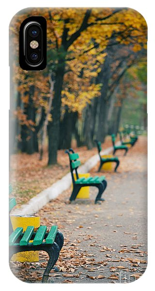 Park Bench iPhone Case - Beautiful Autumn Trees In City Park by Dmz