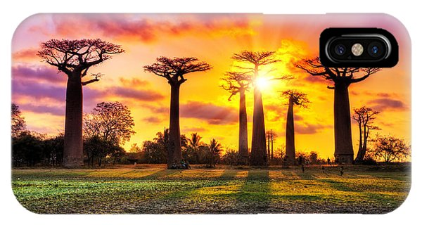 Red Sky iPhone X Case - Beautiful Baobab Trees At Sunset At The by Dennis Van De Water