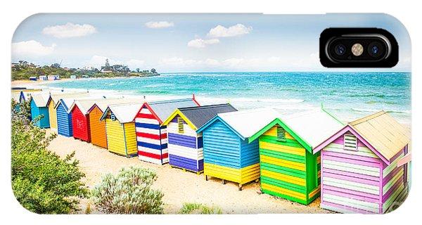 Seashore iPhone Case - Beautiful Bathing Houses On White Sandy by Aleksandar Todorovic