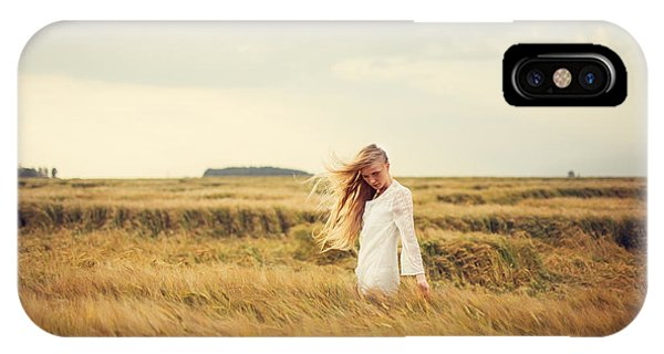 Young iPhone Case - Beautiful Blonde Walks Into The Field by Aleshyn andrei