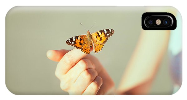 Harmony iPhone Case - Beautiful Butterfly Sitting On The Girl by Viktor Gladkov