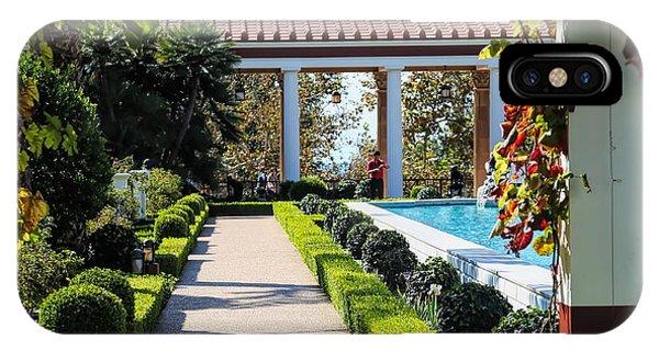 J Paul Getty iPhone Case - Beautiful Courtyard Getty Villa  by Chuck Kuhn