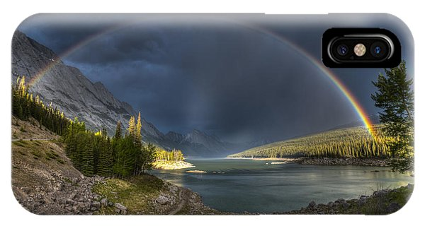 Alpine Meadows iPhone Case - Beautiful Double Rainbow Over Scenic by Bgsmith