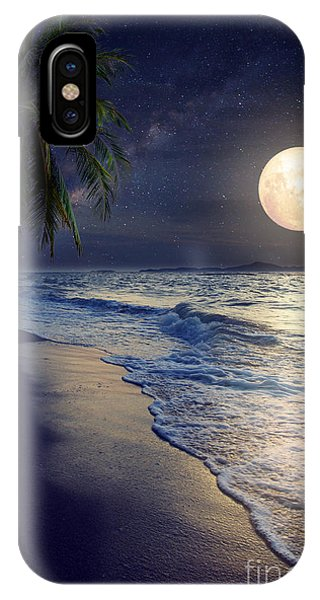 Full Moon iPhone Case - Beautiful Fantasy Tropical Beach With by Jakkapan