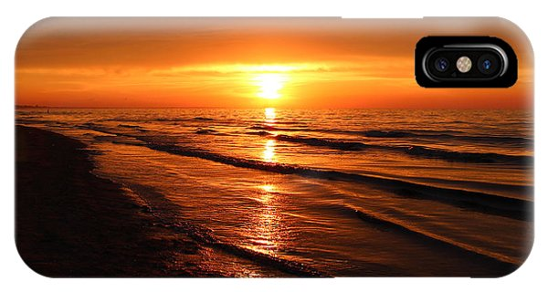 Red Sky iPhone X Case - Beautiful Golden Landscape Of Summer by Evgenyshch