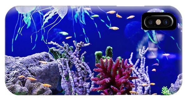 Salt Water iPhone Case - Beautiful Jellyfish, Medusa In The Neon by Dezay