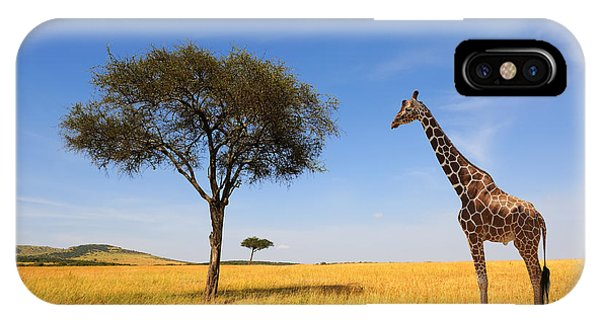 East Africa iPhone Case - Beautiful Landscape With Tree And by Volodymyr Burdiak