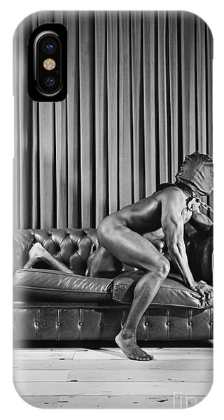 Beautiful Naked Man With Mask Posing On A Sofa IPhone Case