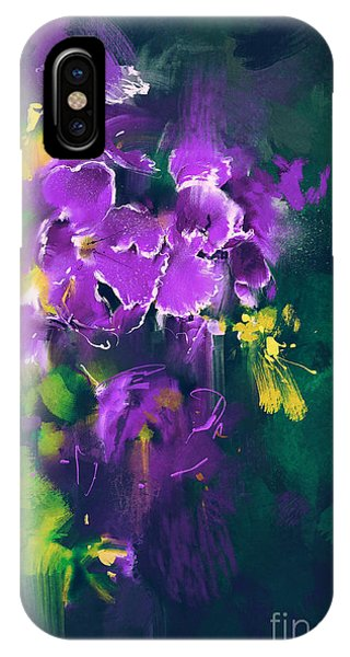 Violet iPhone Case - Beautiful Purple Flowers In Dark by Tithi Luadthong