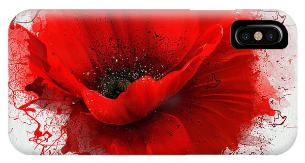 One iPhone Case - Beautiful Red Poppy, Closeup On A White by Pacrovka