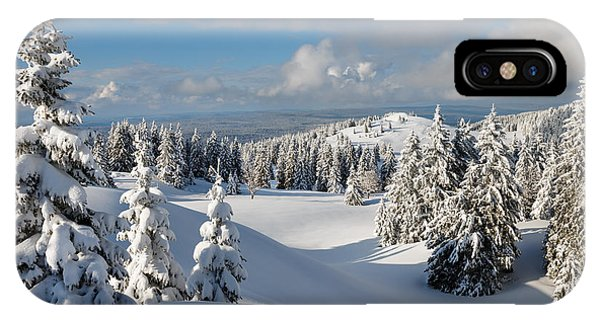 White Mountains iPhone Case - Beautiful Snowy Landscape .firs In A by Godin Stephane