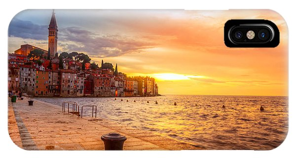 Old Building iPhone Case - Beautiful Sunset At Rovinj In Adriatic by Fesus Robert