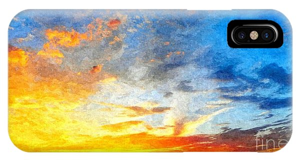 Beautiful Sunset In Landscape In Nature With Warm Sky, Digital A IPhone Case