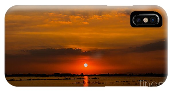 Orange Color iPhone Case - Beautiful Sunset Landscape At Rice by Panompon Jaturavittawong