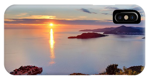 Hotel iPhone Case - Beautiful Sunset Over Montenegro by Liseykina
