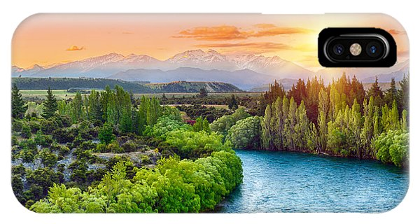 River Flow iPhone Case - Beautiful Sunset Over The Bend Of The by Filip Fuxa