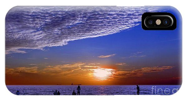 IPhone Case featuring the photograph Beautiful Sunset With Ships And People by Yali Shi