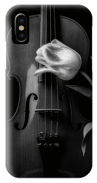 Black Tulip iPhone X Case - Beautiful Tulip And Violin In Black And White by Garry Gay