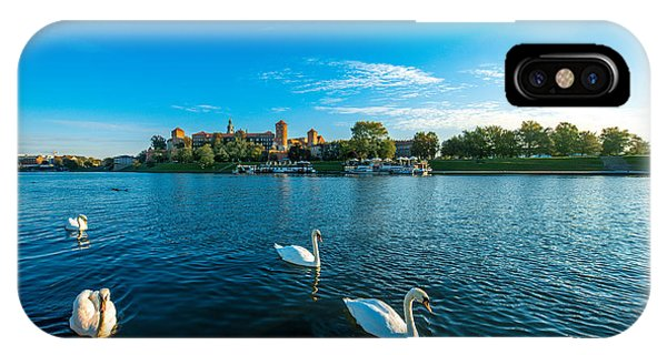 Swan iPhone Case - Beautiful View On Vistula River With by Rosshelen