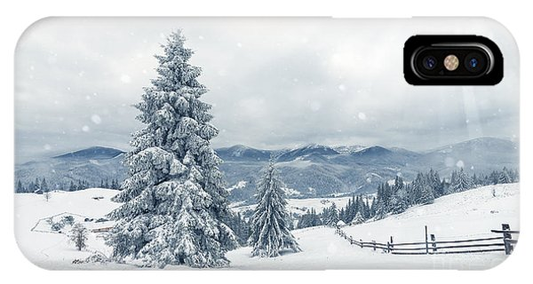 White Mountains iPhone Case - Beautiful Winter Landscape With Snow by Ubc Stock