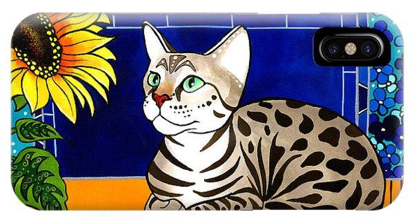 Beauty In Bloom - Savannah Cat Painting IPhone Case