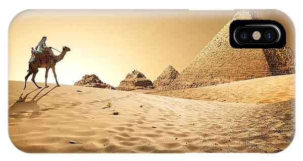 Travel Destination iPhone Case - Bedouin On Camel Near Pyramids In Desert by Givaga