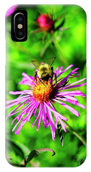 IPhone Case featuring the photograph Bee On Pink Flower by Meta Gatschenberger