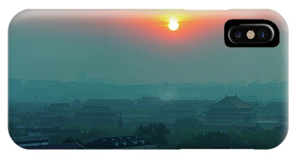 Forbidden City iPhone Case - Beijing Forbidden City Sunset Panorama by Mike Reid